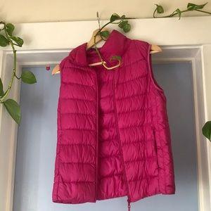 Uniqlo pink puffer vest